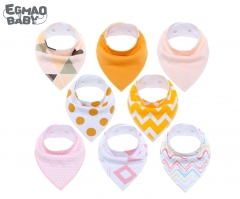 8Pcs/Set Baby Bandana Drool Bibs Unisex Gift Set for Drooling and Teething Organic Cotton Soft and Absorbent Hypoallergenic Bibs